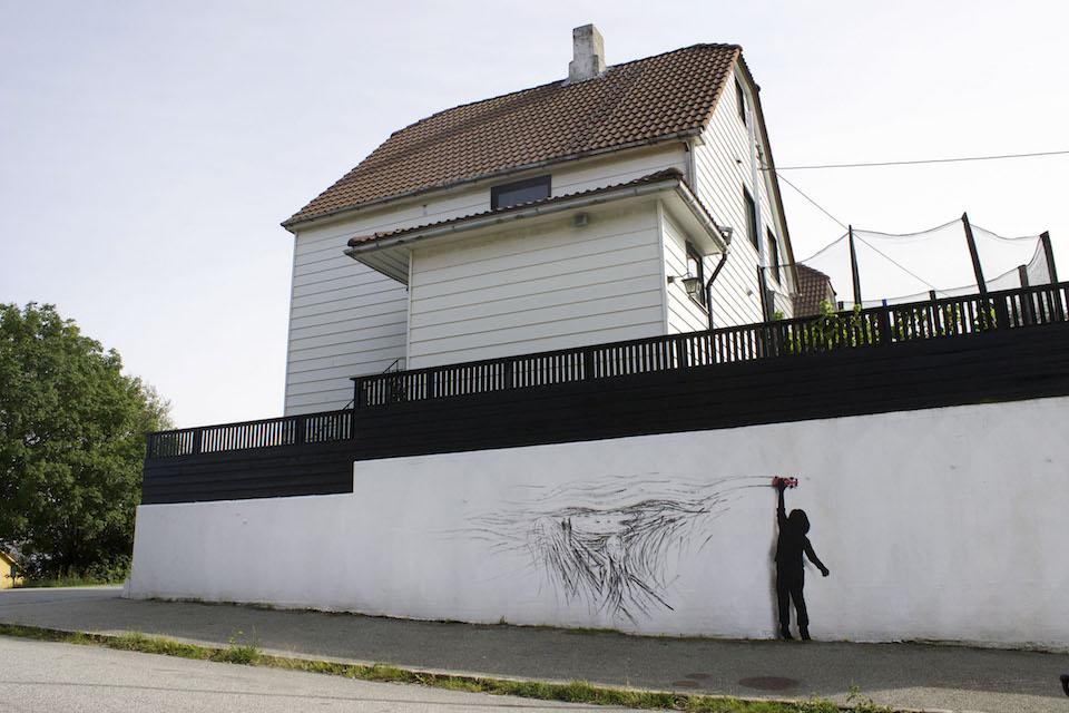 Drift - Street Art by Pejac at Nuart in Stavanger, Norway. A tribute to norwegian Edvard Munch 6