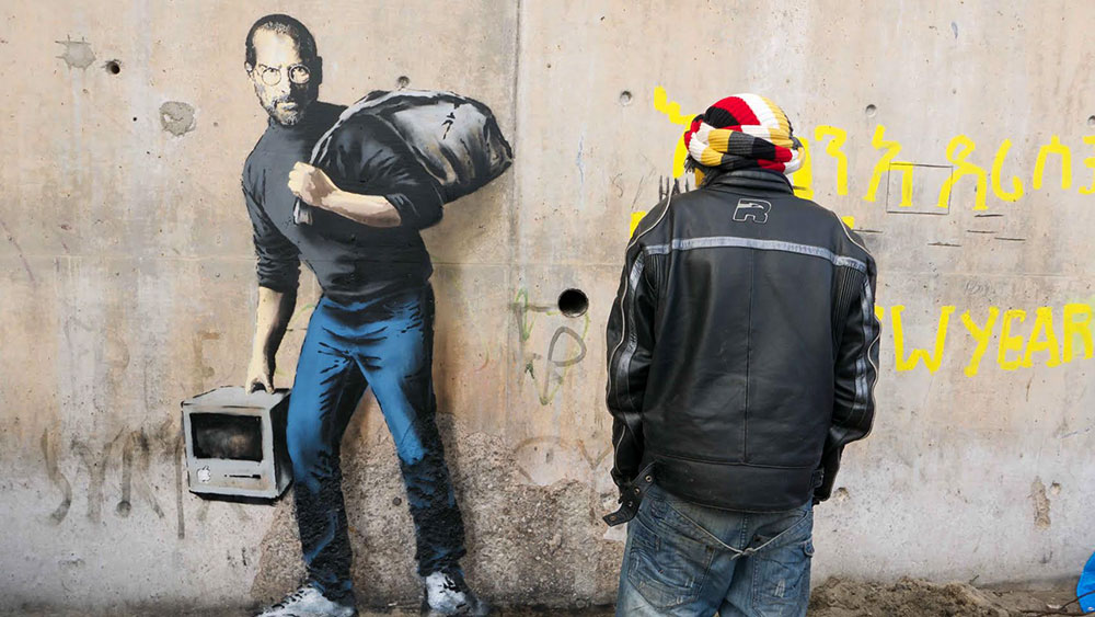 By Banksy - Steve Jobs, the son of a migrant from Syria