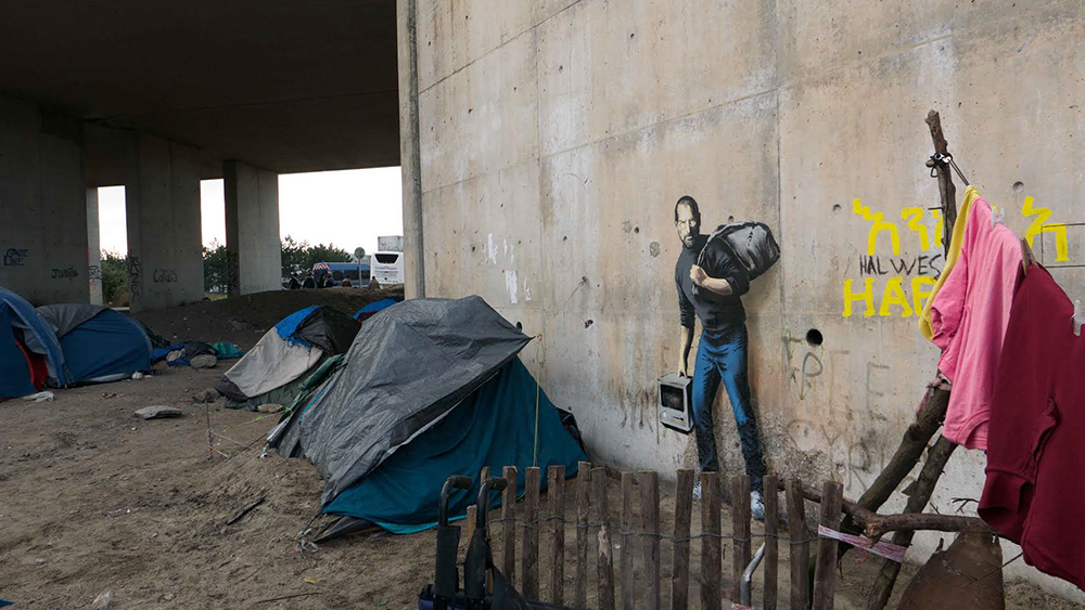 Street Art by Banksy - Steve Jobs, the son of a migrant from Syria 2