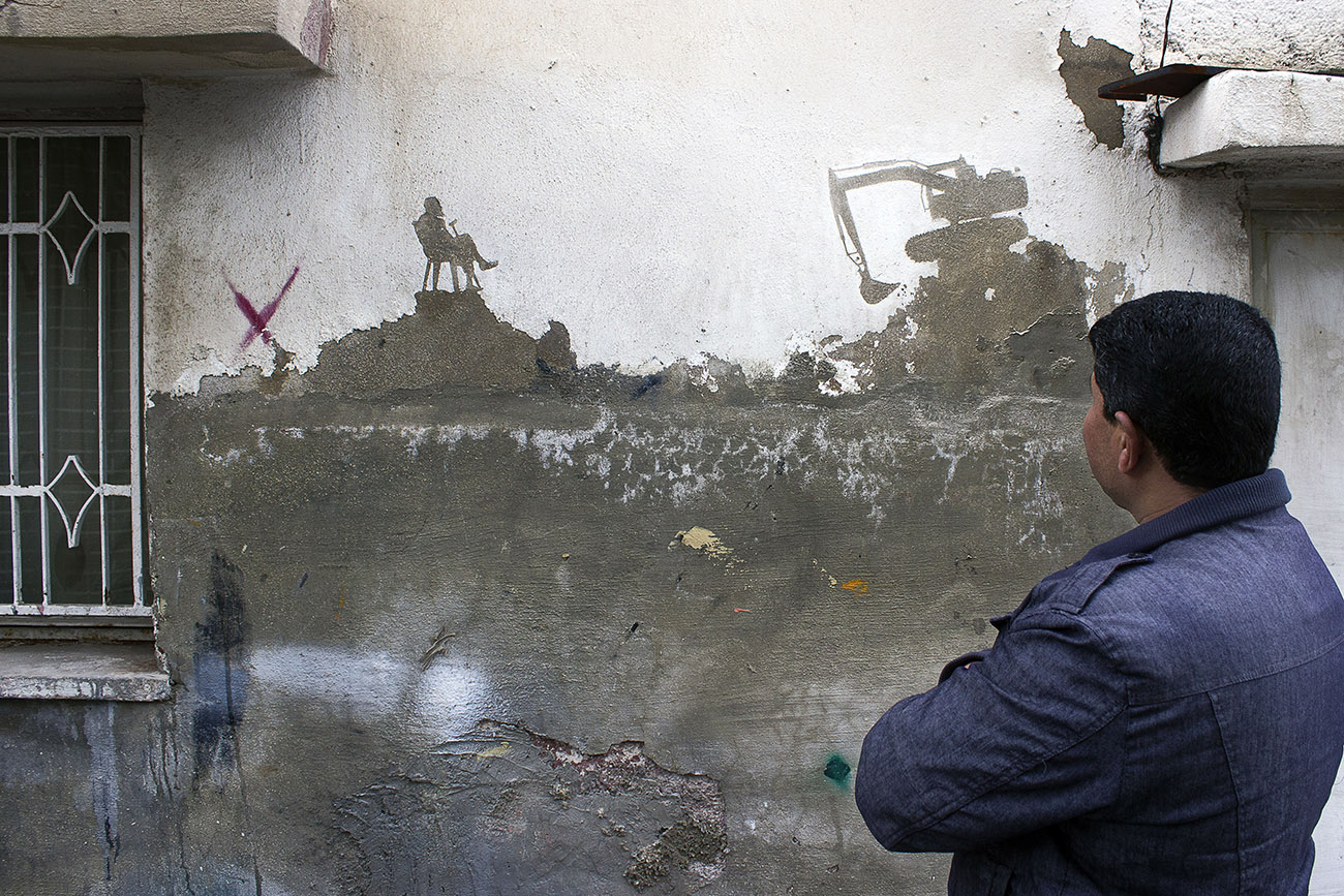 Street Art by Pejac in Al-Hussein, a Palestinian refugee camp in Amman Jordan 2