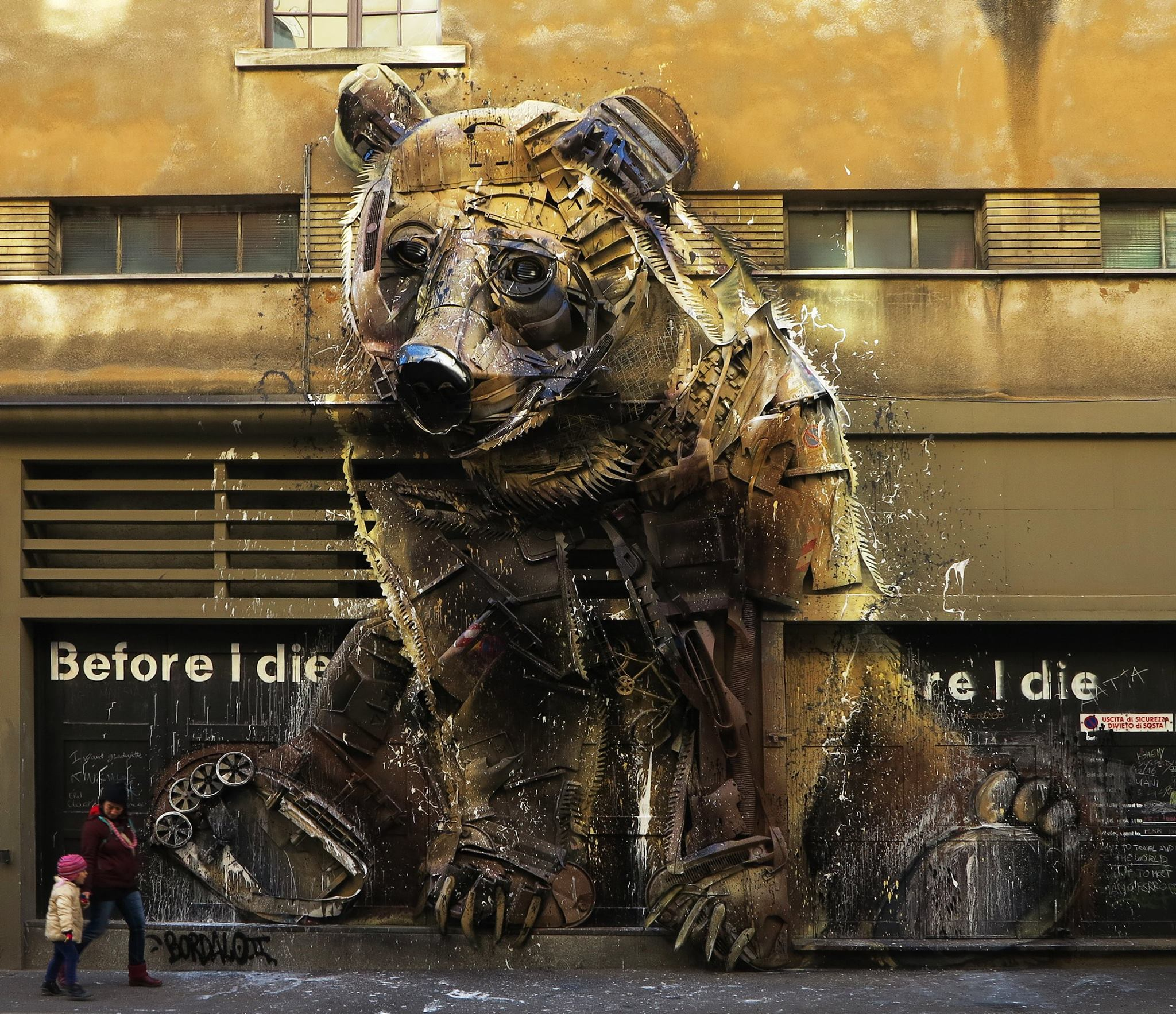 Bear - By Bordalo II in Turin, Italy