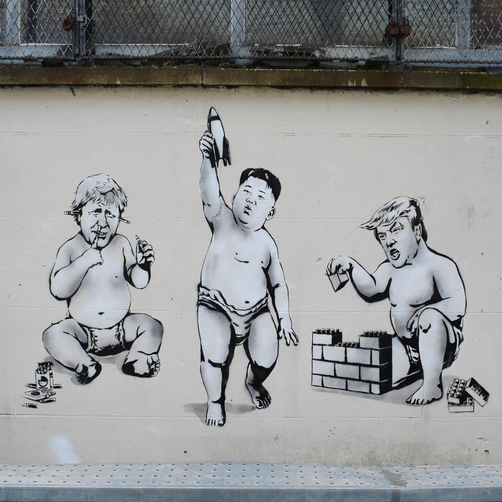 Trump, Kim and Borris - Street Art in Glasgow Scotland