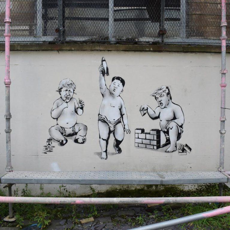 Trump, Kim and Borris – Street Art in Glasgow Scotland