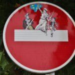 Street Art by street artist Clet in Bretagne, France, photo by meuh1246 45746