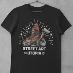 Street Art Utopia TEE Skeleton Painter BLACK