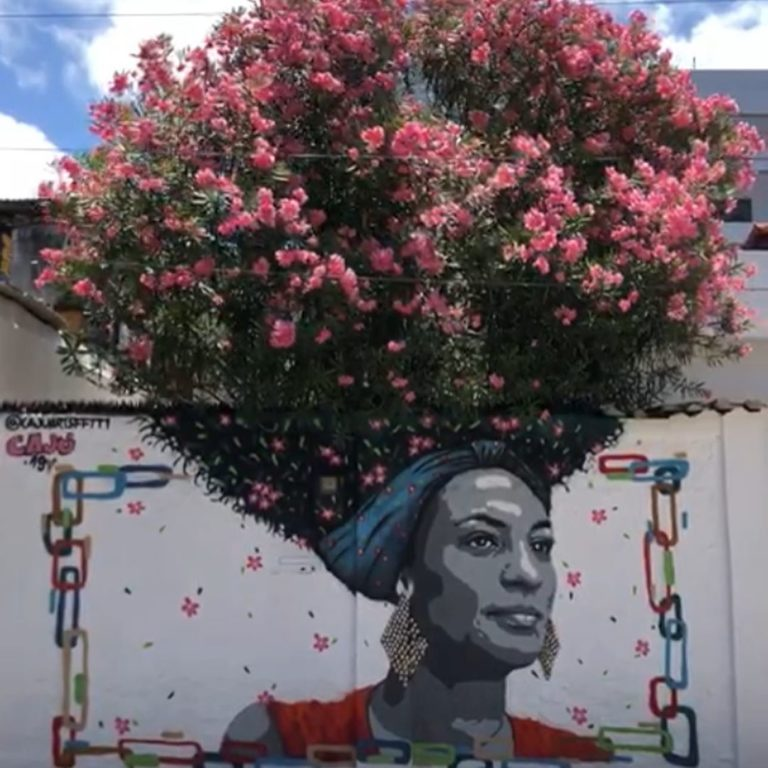Street Art of Marielle Franco by Cajú Artsffiti in Recife, Brazil