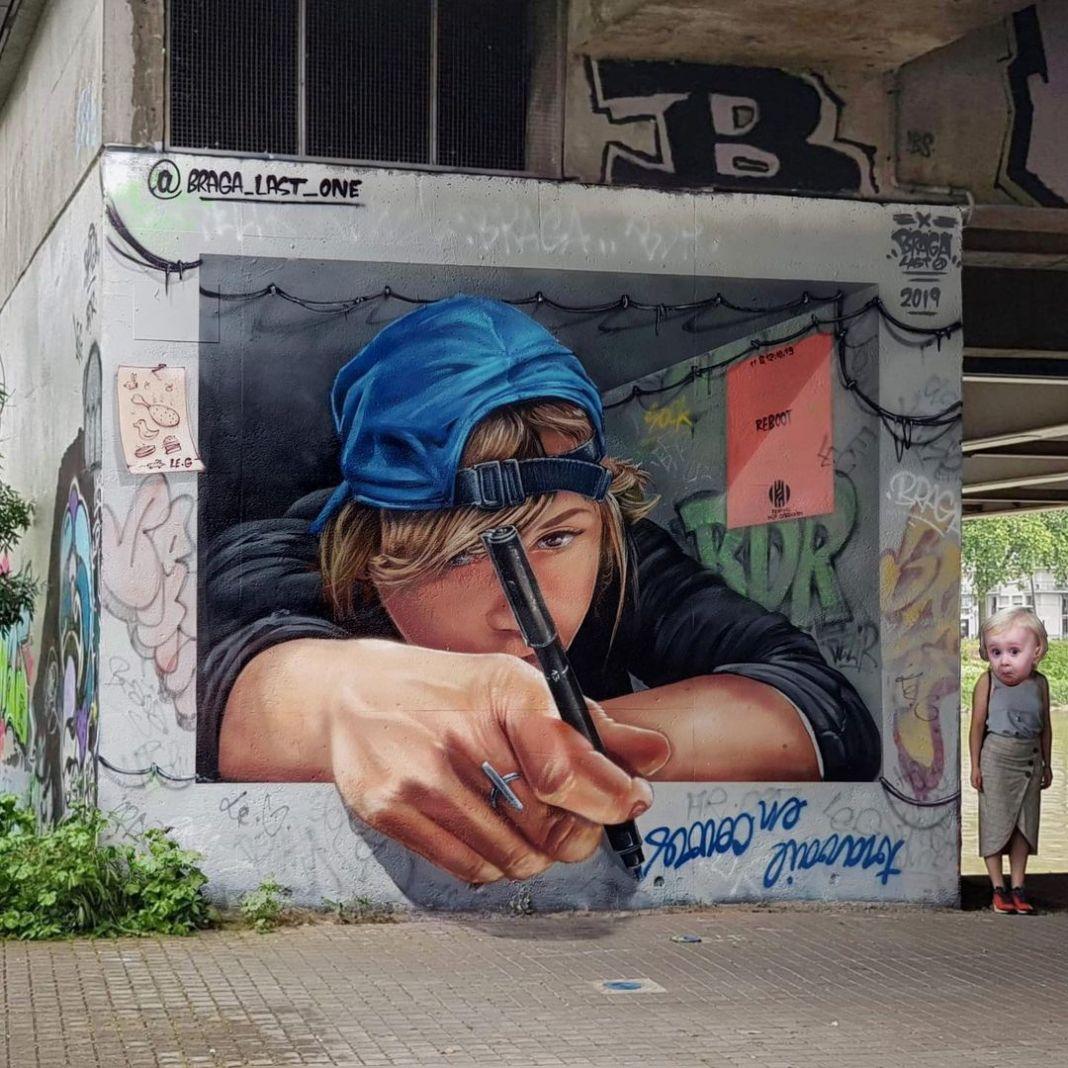 3d street art graffiti by Braga last1 in Nantes, France