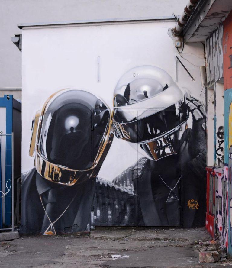 In memory of Daft Punk by graffiti artist Pieksa in Zabłocie, Krakow, Poland